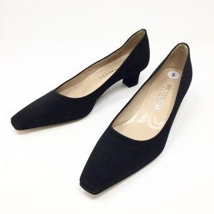 Bruno Magli Black Satin Heels Pumps Shoes Sz 5